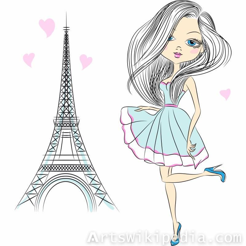 Paris Fashion Cartoon Girl
