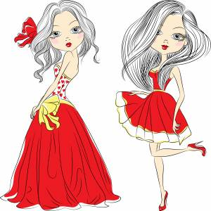 cartoon-red-dress-girls