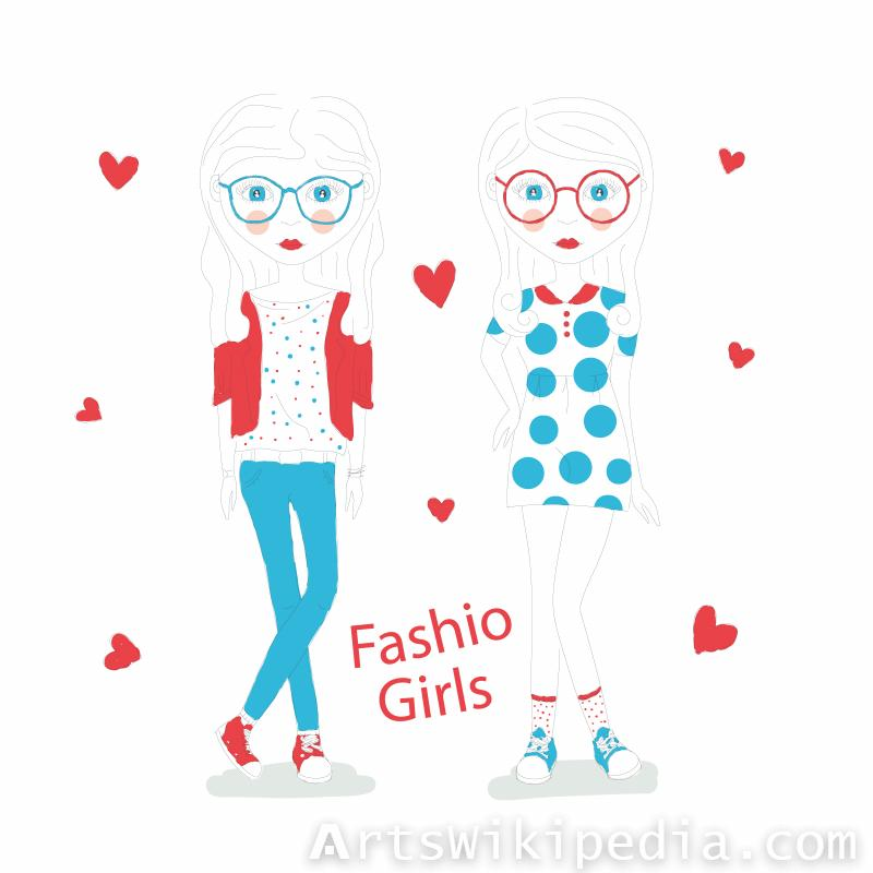 Fashion girls line Arts