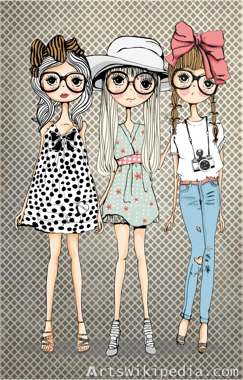 Cartoon Fashion Style Girls