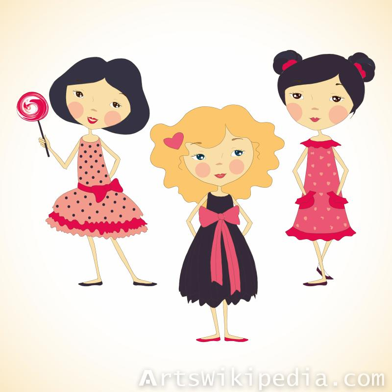three cute cartoon girls