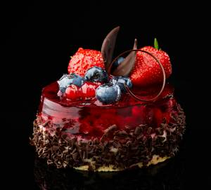 Chocolate fruit cake with mixed berries