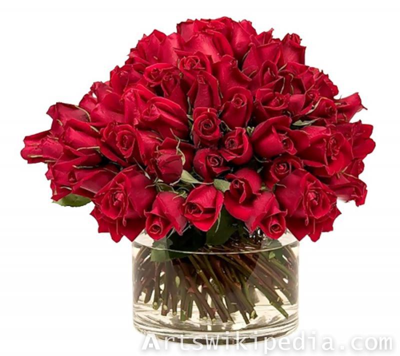 red in vase