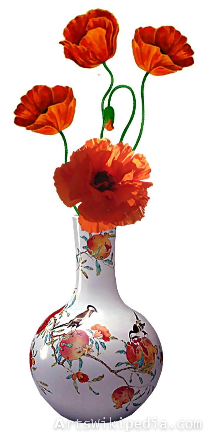coquelicot in white vase