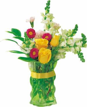 flower collection in glass vase