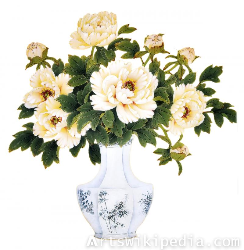 hand painted white flower