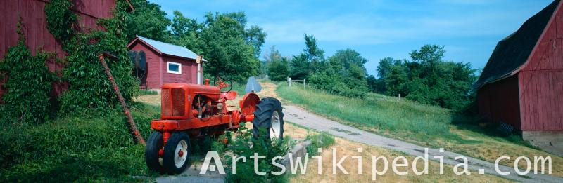 red painted tractor