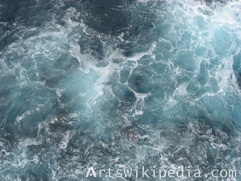 blue water and foam ocean