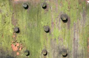 green rusted studded with bolt