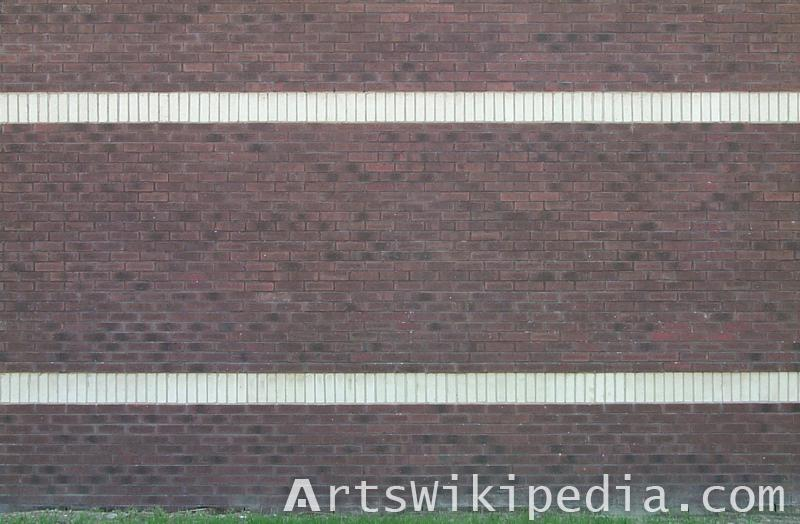brick wall with two white line