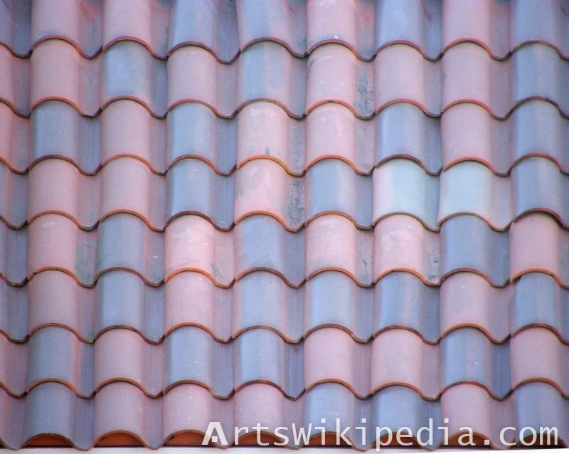 Blue & red ceramic roof texture
