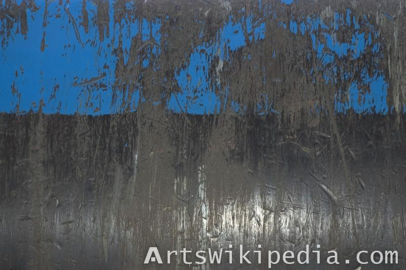 blue painted scratched metal