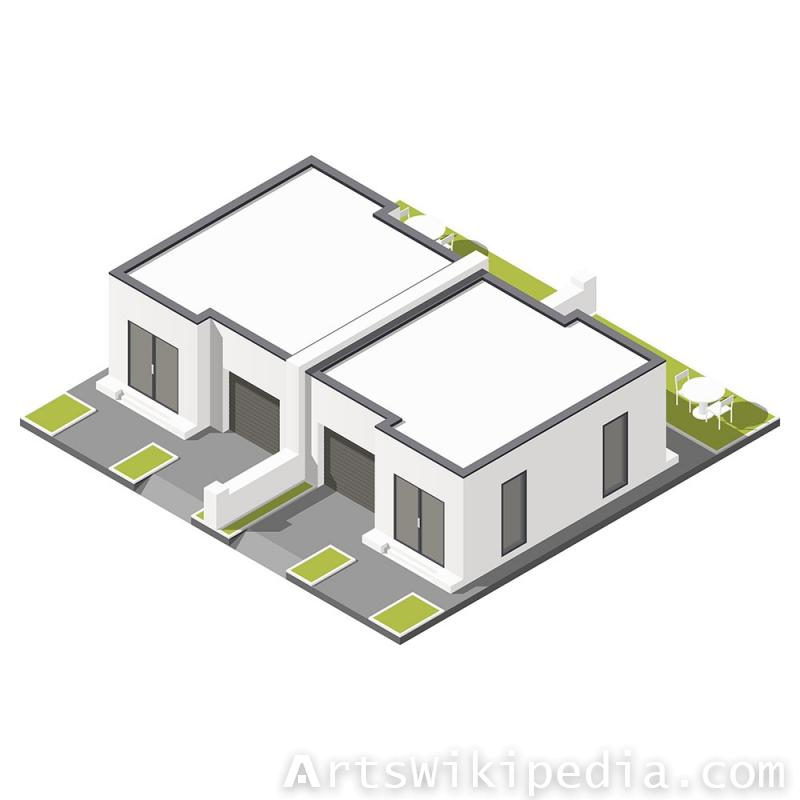 Isometric one floor building