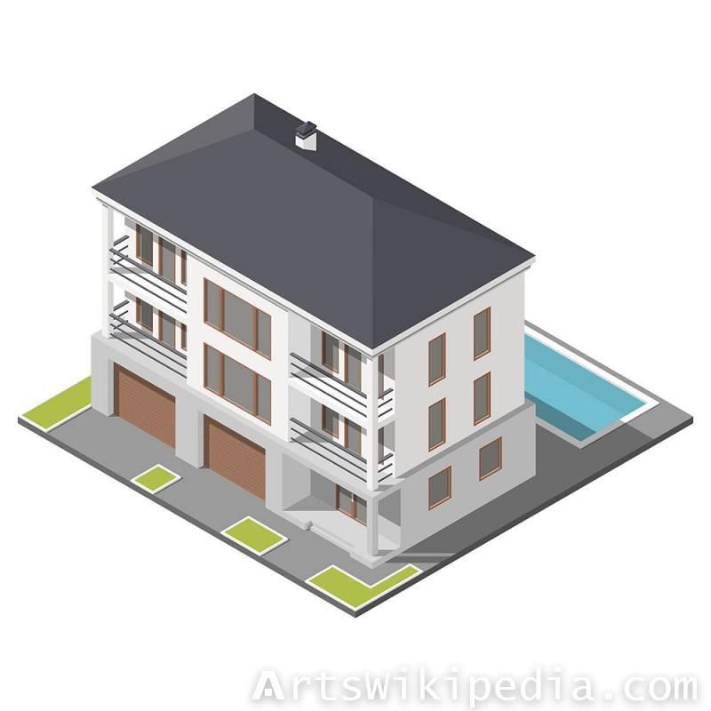 Isometric three story building