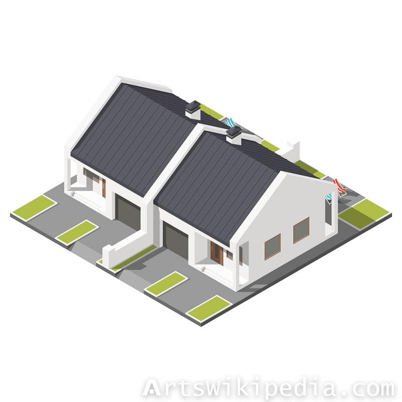 Isometric one floor house