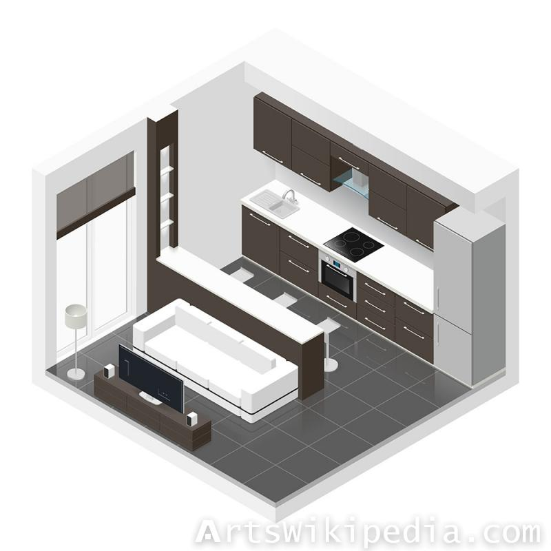 Isometric Kitchen and living room