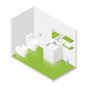 Isometric green Bathroom