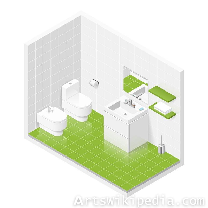 Isometric green Bathroom