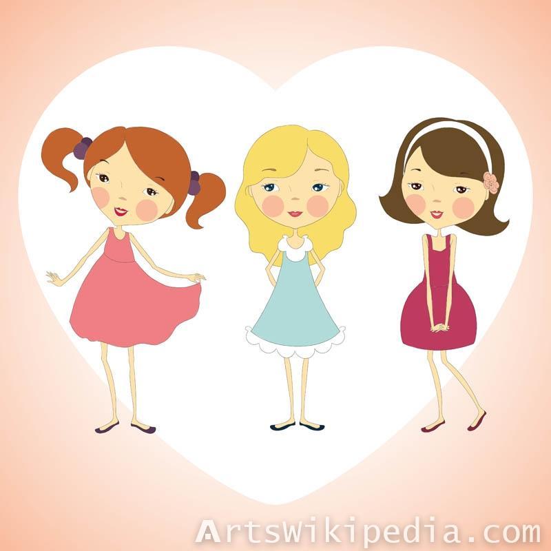Vector line art girls