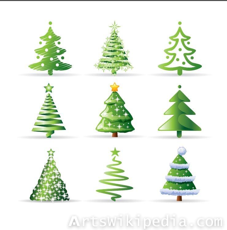 multiple illustration for Christmas trees