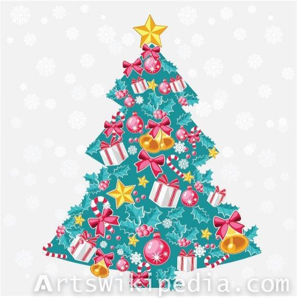 Free blue Christmas tree Vector