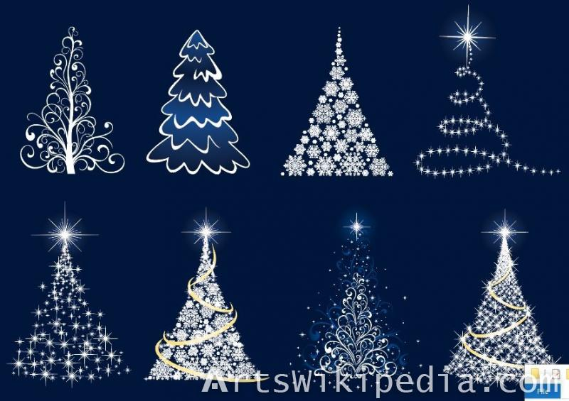White glossy Christmas tree illustrations