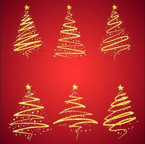 Golden Christmas trees vector