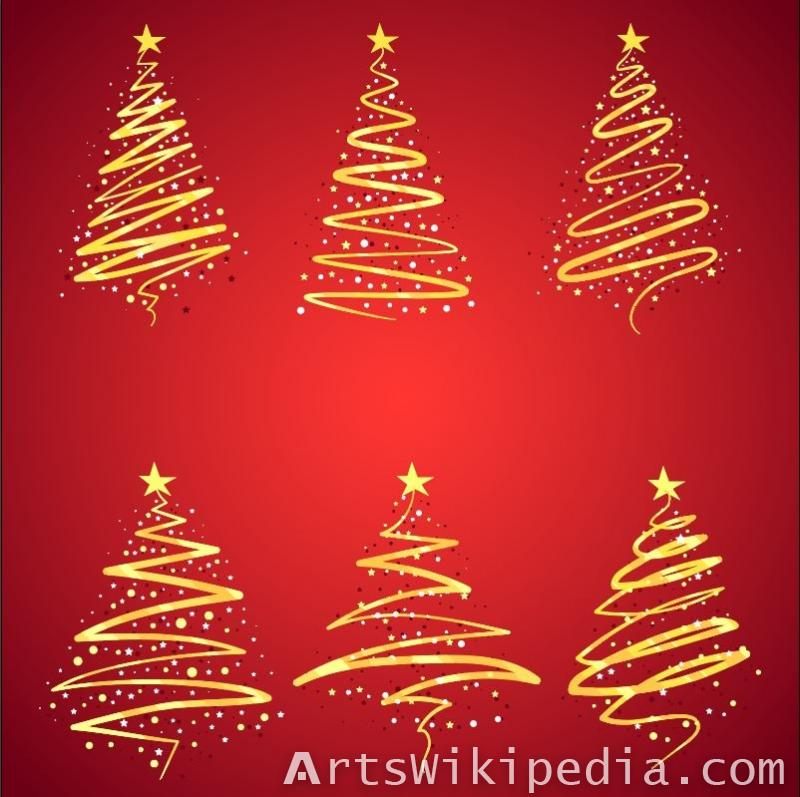 Golden Christmas trees vector