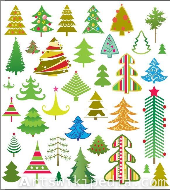 Huge collection of Christmas trees vectors