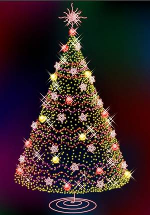 Free Glittering Christmas tree vector art