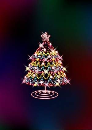 Glowing and Glittering Christmas tree illustration