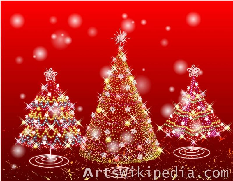 Red Christmas tree illustrations